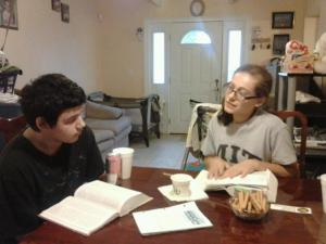 Lauren was also in my class at TAA on how to give Bible studies, and here is a picture of her later giving personal Bible studies to Julio, who was later baptized.