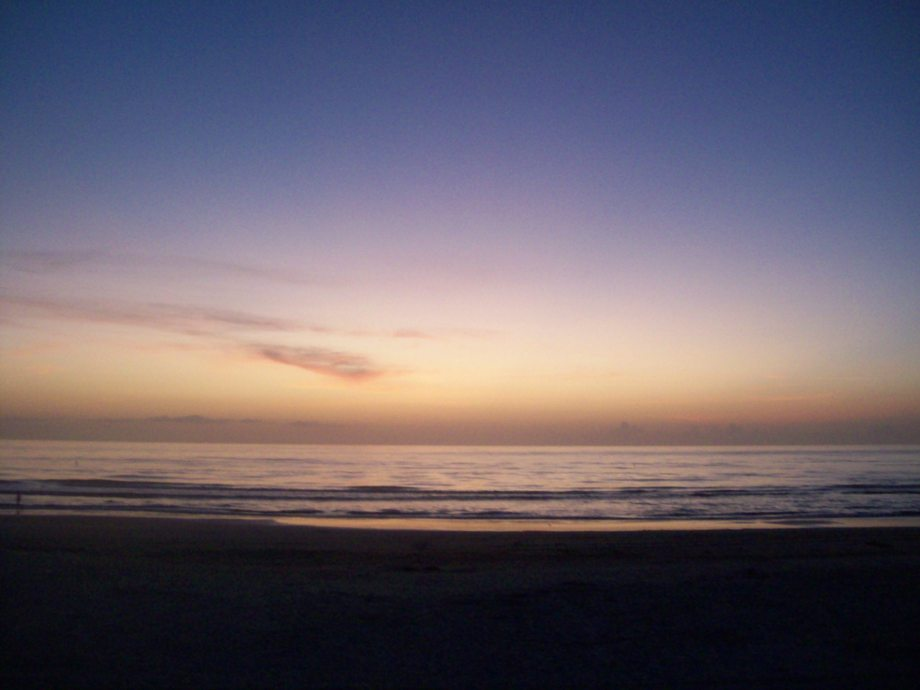 I am writing today from beautiful South Florida. Here is a picture I took years ago of the sunrise at Daytona Beach.