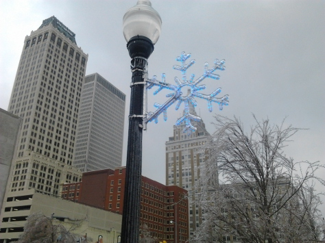 I am writing tonight from  beautiful, icy cold Tulsa, Oklahoma.
